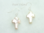 Enigma White Cross Pearl Earrings