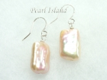 Enigma Peach Rectangle Pearl Earrings