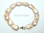 Enigma Peach Rectangle Pearl Bracelet
