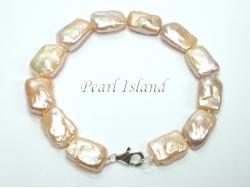 Enigma Peach Rectangle Pearl Bracelet