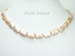 Enigma Peach Rectangle Pearl Necklace