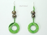 Joie de vivre Olive Green Pearl & Shell Earrings