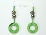 Joie de vivre Olive Green Pearl & Shell Earrings