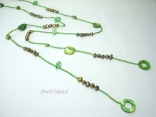 Joie de vivre Olive Green Pearl & Shell Open Rope Necklace