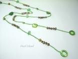 Joie de vivre Olive Green Pearl & Shell Open Rope Necklace