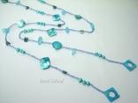 Joie de vivre Blue Pearl & Shell Open Rope Necklace