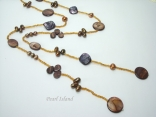 Joie de vivre Brownish Long Pearl & Shell Open Necklace