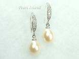 White Drop Pearl Earrings 8x11mm