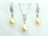 White Drop Pearl Pendant and Earring Set 8X11mm
