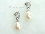 White Drop Pearl Elegant Earrings 8x11mm