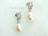 White Drop Pearl Elegant Earrings 8x11mm