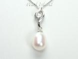 White Drop Pearl Elegant Pendant 8x11mm