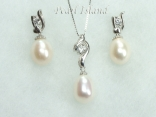 White Drop Pearl Elegant Pendant and Earring Set 8X11mm