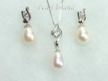White Drop Pearl Elegant Pendant and Earring Set 8X11mm