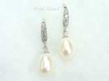 Chic White Drop Pearl Earrings 8x11mm