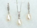 Chic White Drop Pearl Pendant and Earring Set 8X11mm