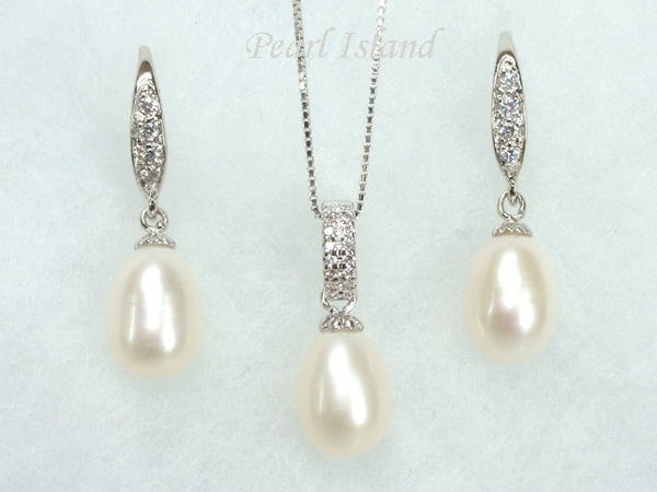 4f9b5e0466470 Chic White Drop Pearl Pendant and Earring Set 8X11mm