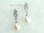 Large White Pearl Earrings 10x11mm
