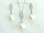 Large White Pearl Pendant and Earring Set 10X11mm