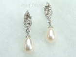 Countessa White Drop Pearl Earrings 8x11mm