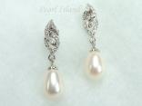 Countessa White Drop Pearl Earrings 8x11mm