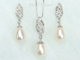 Countessa White Drop Pearl Pendant and Earring Set 8X11mm