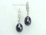 Peacock Black Drop Pearl Earrings 8x11mm