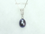 Peacock Black Drop Pearl Pendant 8x11mm