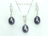 Peacock Black Drop Pearl Pendant and Earring Set 8X11mm