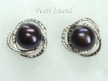 Peacock Round Pearl Stylish Stud Earrings 8.5-9mm