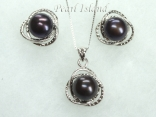 Peacock Round Pearl Stylish Pendant and Earring Set 8.5-9mm