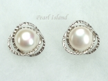 White Round Pearl Stylish Stud Earrings 8-8.5mm