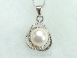 White Round Pearl Stylish Pendant 8-8.5mm