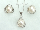 White Round Pearl Stylish Pendant and Earring Set 8-8.5mm