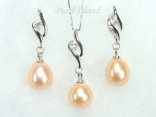 Dark Peach Pearl Pendant and Earring Set 9-10mm
