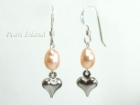 Peach Oval Pearl with Silver Heart Earrings 5x7mm
