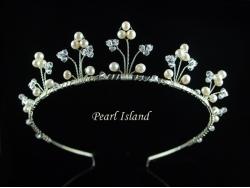 Elegance Floral Freshwater Pearl Wedding Tiara