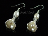 Petite Ivory Freshwater Pearl in Bell Flower Earrings