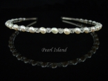 Petite Freshwater Pearl Headband with Clear Crystal