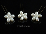 Countessa Freshwater Pearl Flower Hair Pins x 3