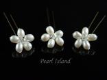 Countessa Freshwater Pearl Flower Hair Pins x 3