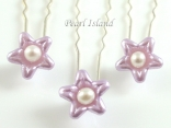 Petite Ivory Freshwater Pearl in Lavender Flower Hair Pin x 3