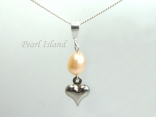 Small Peach Oval Pearl with Tiny Silver Heart Pendant Necklace