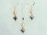 Small Peach Oval Pearl with Silver Heart Pendant and Earring Set