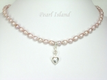 Little Princess Lavender Oval Pearl Necklace 4x6mm