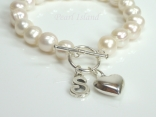 Personalised White Circlet Pearl Bracelet with T-bar Clasp