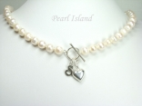 Personalised White Circlet Pearl Necklace with T-bar Clasp