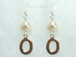 Personalised White Circlet Pearl Earrings with one pearl