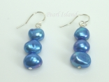 Royal Blue Baroque Pearl Earrings with Three Pearls