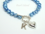 Personalised Royal Blue Baroque Pearl Bracelet with T-bar Clasp